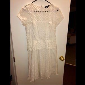White peplum eyelet dress